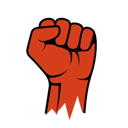 raised hand: Raised Fist Icon. Hand Protest Strike Fight. Vector illustration