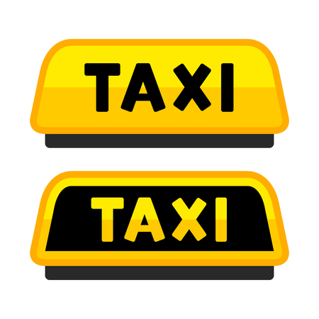 private parts: Taxi Car Roof Sign. Label Set. Vector illustration Illustration