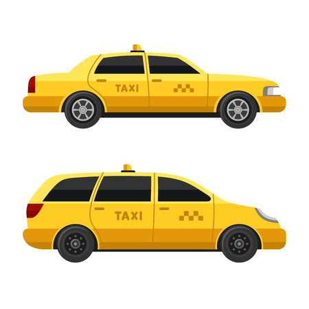 new york taxi: Yellow Taxi Cars Set on White Background. Vector illustration Illustration