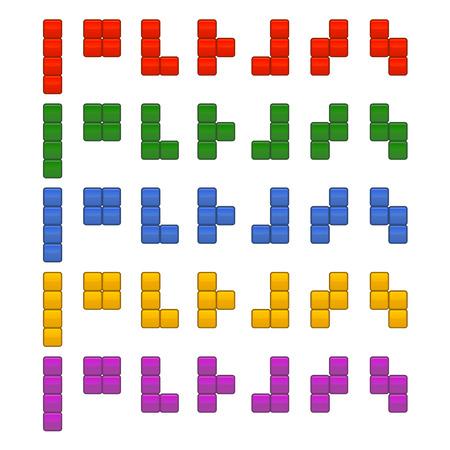 Tetris Bricks Pieces Total Set for Game. Vector illustration