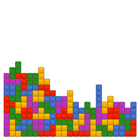 Game Brick Tetris Template on White Background. Vector Illustrations Vettoriali