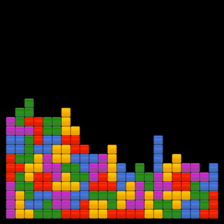 tetris: Game Brick Tetris Template on Black Background. Vector Illustrations