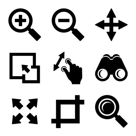zoom: Zoom Icons Set on White background. Vector Illustration