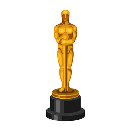 academy awards: Golden Statue on White Background. Vector illustration Illustration