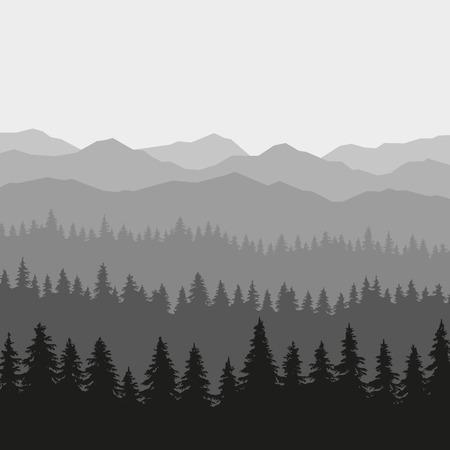 coniferous forest: Bosque de coníferas y montañas de fondo. ilustración Vectores