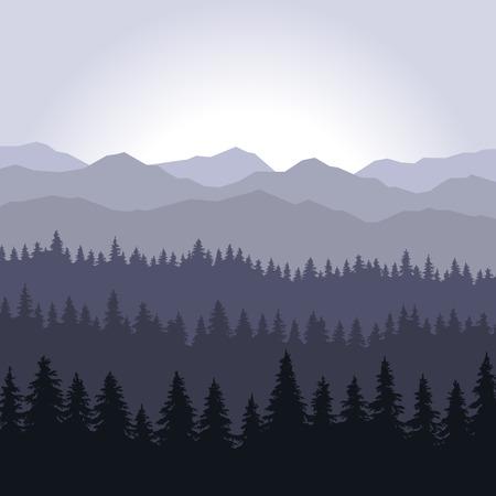 coniferous forest: Azul Niebla Bosque de Coníferas y las montañas de fondo. ilustración