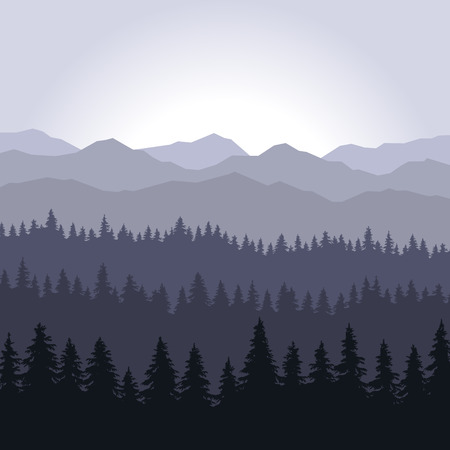 fog forest: Blue Fog Coniferous Forest and Mountains Background. illustration