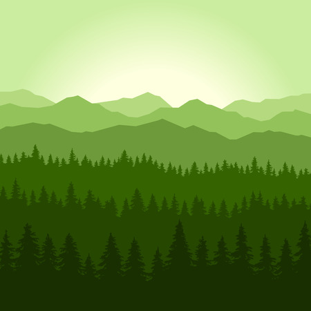 Green Fog Coniferous Forest and Mountains Background. illustration Illustration