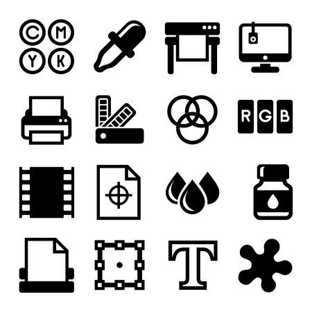 desktop printer: Printing Icons Set on White Background. illustration Illustration