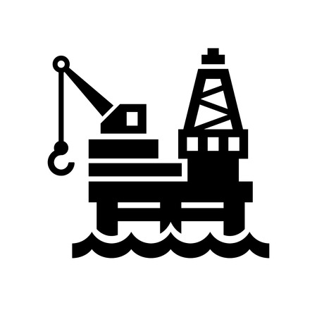 Oil Platform Icon on White Background. illustration Vetores