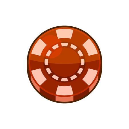 poker chip: Red Casino Poker Chip Isolated on White Background. illustration