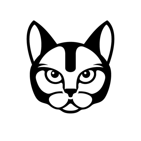 pampered pets: Black Cat Face Icon on White Background. illustration Illustration