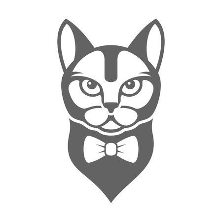 ties: Portrait of Hipster Cat with Bow Tie Isolated on White Background. illustration