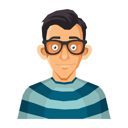 character traits: Computer Geek Face in Glasses. illustration