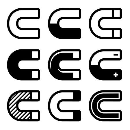 Magnet Icons Set on White Background. illustration