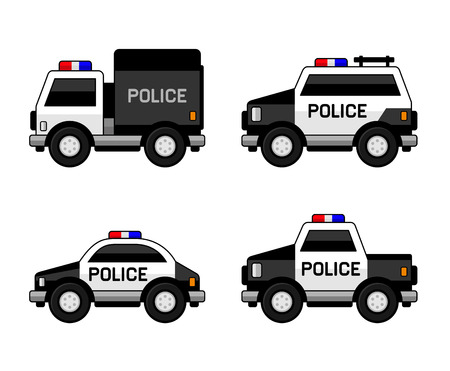 Conjunto de coches de la policía. Clásico blanco y negro Colores. ilustración