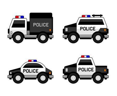 Polizeiwagen-Set. Klassische Schwarzweiss-Farben. Illustration