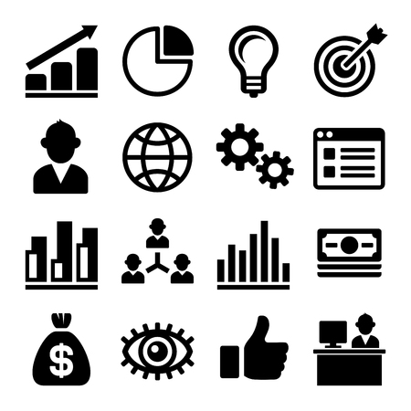 Marketing and CEO Icons Set. illustration