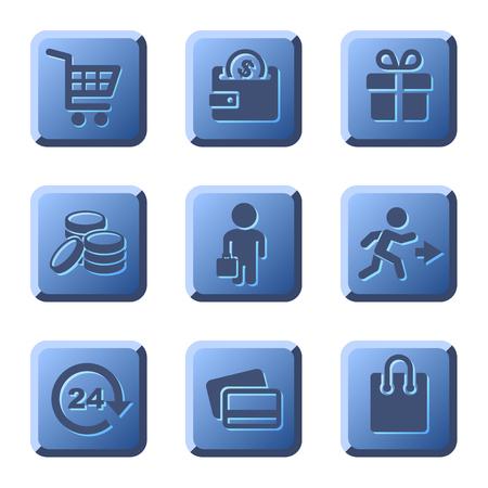 supermarket cart: Blue Shopping Icons Set on White Background. illustration Illustration