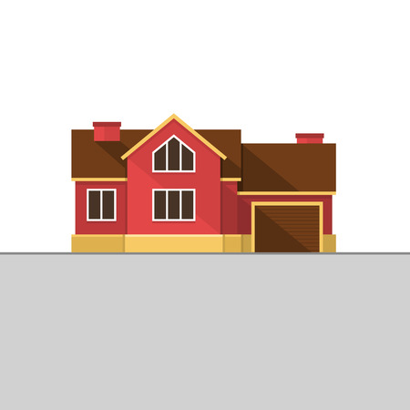 english house: Classic English House Facade. Red Brick Home. illustration