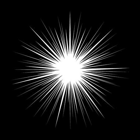 black light: Classic Style Retro Starburst on Black Background. Vintage Illustration. Illustration
