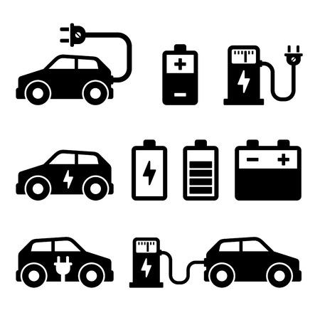 Electric Car Icons Set on White Background. illustration Vector Illustration