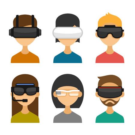 Avatare mit Virtual-Reality-Brille Icon-Set. Wohnung Style Design. Illustration