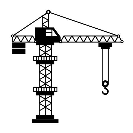 cranes: Tower Crane Icon in White Background. illustration