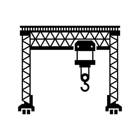 overhead crane: Lifting Machine Icon on White Background.illustration