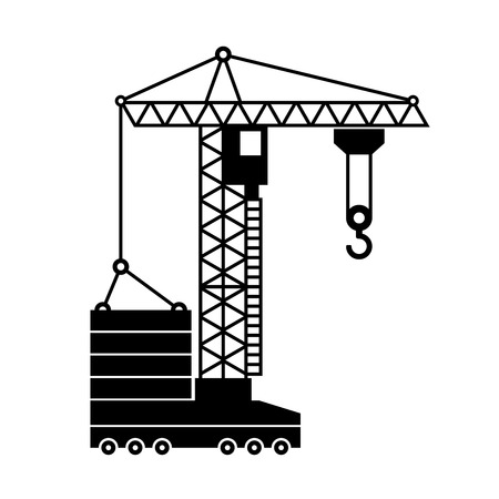 tower crane: Tower Crane Icon in White Background. illustration