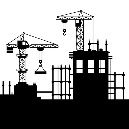 high rise buildings: Construction Site with Tower Cranes. illustration