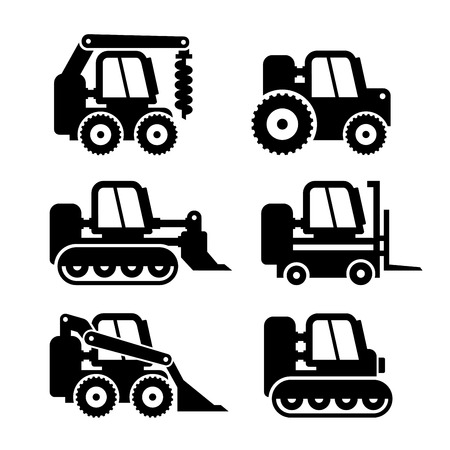 compact track loader: Machine Icons Set on . illustration