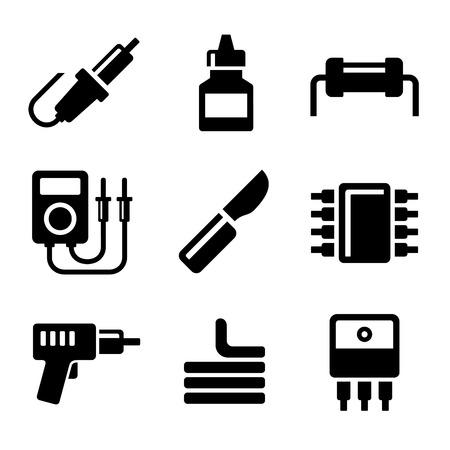 electronics industry: Solder Icons Set on White Background.