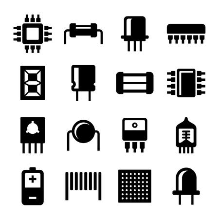silicio: Componentes electrónicos y Microchip iconos conjunto. ilustración Vectores