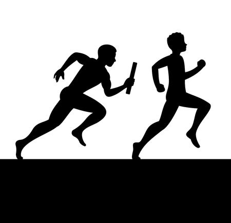 carrera de relevos: Relé con Dos personas pasando Baton. ilustración