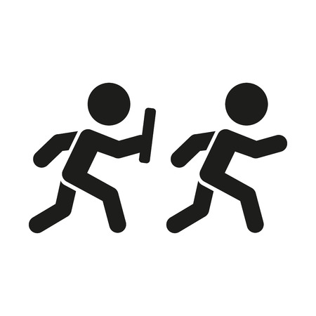 staffel: Relais-Piktogramm. Zwei einfache Silhouetten mit Baton auf weißem Hintergrund. Vektor Illustration