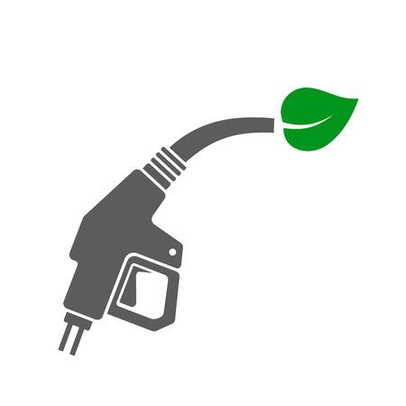 bio fuel: Bio Fuel Concept Icon. Gas Station Gun with Green Leaf. Vector