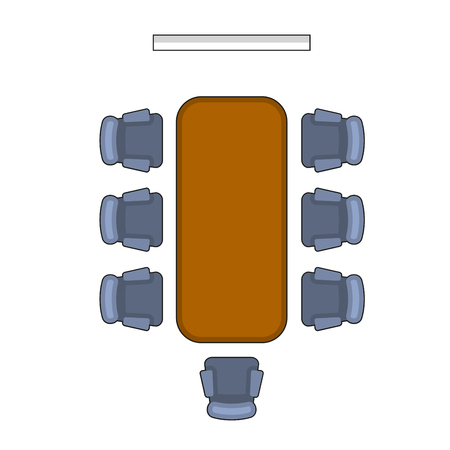 boardroom meeting: Meeting Room Layout. Conference Boardroom Flat Style. Vector illustration Illustration