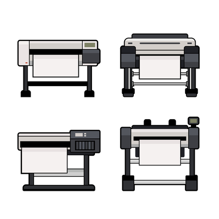 reproduction: Plotter Icons Set on White Background. Vector illustration