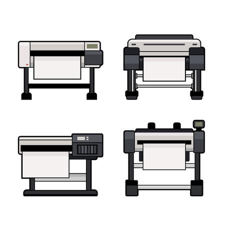 Plotter Icons Set on White Background. Vector illustration