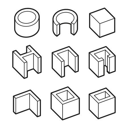 fittings: Metal Profiles  Icons Set. Steel Products. Vector illustration Illustration