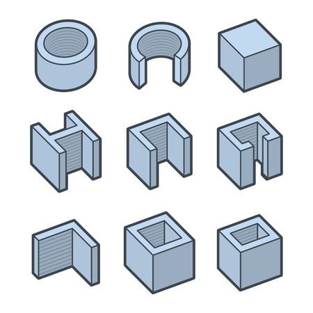 metalworking: Metal Profiles  Icons Set. Steel Products. Vector illustration Illustration
