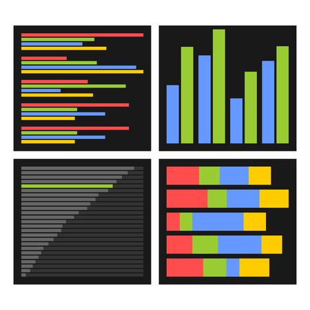 Benchmark Bars und Anzeigen einstellen. Vektor-Illustration