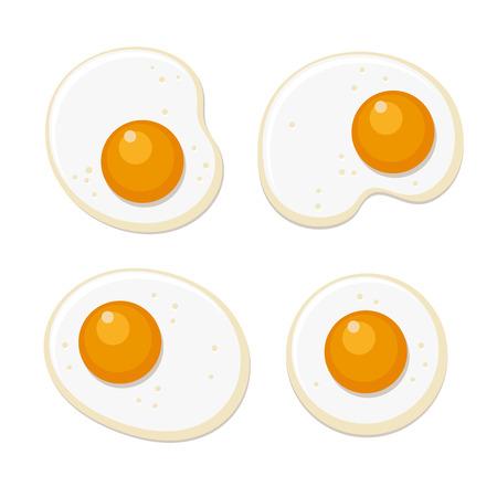Fried Eggs Set. Flat Style on White Background. Vector illustration