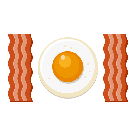 bacon art: Fried Egg and Slices of Bacon. Vector illustration