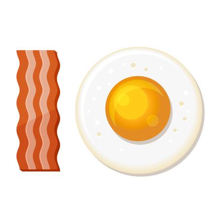 huevos fritos: Huevo frito y rebanadas de tocino. Icono del almuerzo. ilustración vectorial