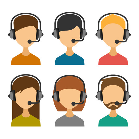 Call Center Operator with Headset Icon Set. Vector illustration