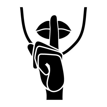 silencio: Icono de silencio. Los dedos y los labios susurran sesión. ilustración vectorial