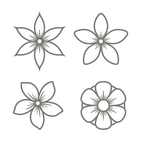 재스민 꽃 아이콘 흰색 배경에 설정합니다. 벡터 일러스트 레이 션
