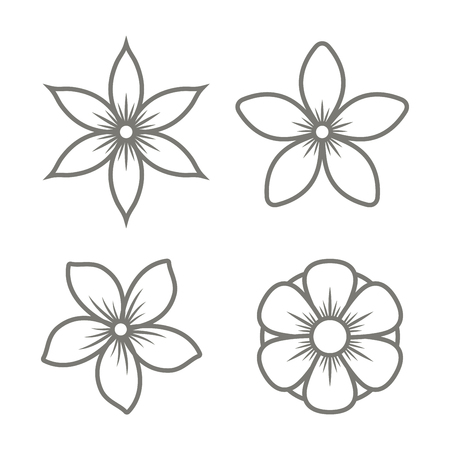 Jasmine Flower Icons Set on White Background. Vector illustration Ilustração